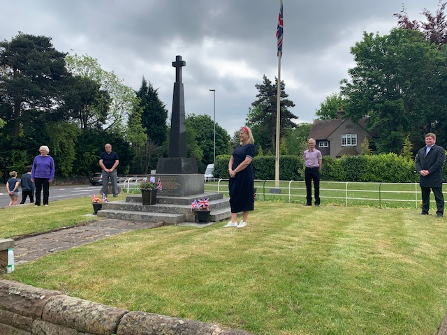 Members of Mere Parish Council laid a bouquet of flowers at the Mere Cenotaph in celebration of VE Day on the 8th May.